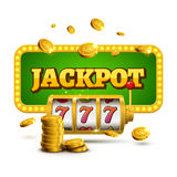 Slot machine lucky sevens jackpot concept 777. Vector casino game. Slot machine with money coins. Fortune chance jackpot.  Royalty Free Stock Photos
