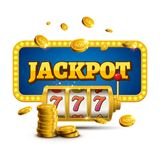 Slot machine lucky sevens jackpot concept 777. Vector casino game. Slot machine with money coins. Fortune chance jackpot.  Royalty Free Stock Photography