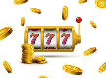 Slot machine lucky sevens jackpot concept 777. Vector casino game. Slot machine with money coins. Fortune chance jackpot.  Royalty Free Stock Image