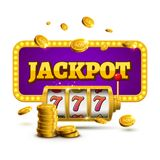 Slot machine lucky sevens jackpot concept 777. Vector casino game. Slot machine with money coins. Fortune chance jackpot.  Stock Photography