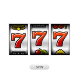 Slot machine with lucky sevens jackpot Royalty Free Stock Photography