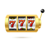 Slot machine with lucky sevens jackpot. Illustration Stock Photo