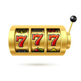 Slot machine with lucky sevens jackpot. Illustration Stock Photos