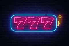 Slot Machine neon sign vector. 777 Slot Machine Design template neon sign, light banner, neon signboard, nightly bright. Advertising, light inscription. Vector stock illustration