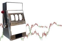 Slot machine no fundo branco com gráfico dos estrangeiros Foto de Stock Royalty Free