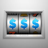 Slot machine or one armed bandit scoreboard. Casino and gambling vector concept Stock Photos
