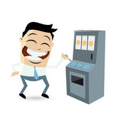 Slot machine playing man. Clipart of a slot machine playing man Stock Photos