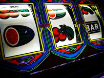 Slot machine reels. Close up of colorful reels on gambling slot machine Royalty Free Stock Photography