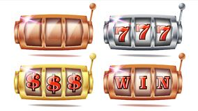 Slot Machine Set Vector. 777. Golden, Silver, Bronze. Gambling Poster. Spin Object. Spin Machine Template. Casino. Slot Machine Set Vector. 777. Bingo Background stock illustration