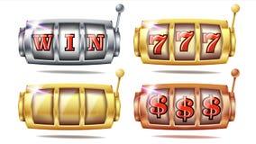 Slot Machine Set Vector. 777. Big Win Banner Element. Golden, Silver, Bronze. Spin Machine Template. Fortune Jackpot. Slot Machine Set Vector. 777. Golden vector illustration
