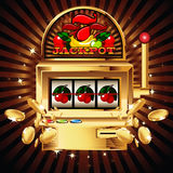 Slot machine on shiny background vector illustration