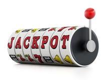 Slot machine showing jackpot word Stock Images