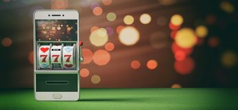 Slot machine on a smartphone screen, green felt and abstract background. 3d illustration. Online gambling concept. Slot machine on a smartphone screen, green Stock Photos