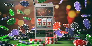 Slot machine on a smartphone screen, poker chips and abstract background. 3d illustration vector illustration