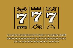 Slot machine style font stock illustration