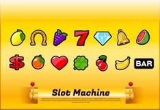 Slot machine symbols set vector stock illustration