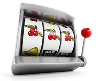Slot machine with three cherries  on white background Royalty Free Stock Photography