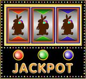 Slot machine with three easter bunnies. Colorful Slot machine with three three easter bunnies with basket and eggs stock illustration