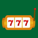 Slot machine with three seven's isolated on green background.   Royalty Free Stock Photo