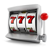 Slot machine. With three seven's isolated on white background stock illustration