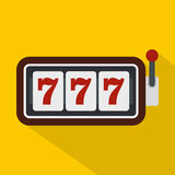 Slot machine with three sevens icon, flat style Stock Images
