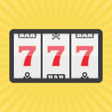 Slot machine with three sevens icon. Vector illustration of lucky sevens jackpot. Win gambling casino concept. Flat style. EPS 10 Stock Images