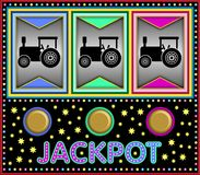 Slot machine with three toy tractors Stock Photography