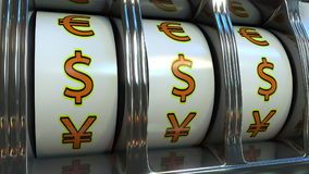 Slot machine with US dollar currency symbols. Forex, fortune or investor`s luck concepts. 3D rendering. Slot machine with dollar currency symbols Stock Photos