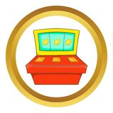 Slot machine vector icon. In golden circle, cartoon style isolated on white background royalty free illustration