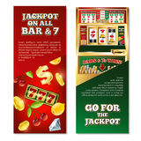 Slot Machine Vertical Banners. With jackpot on game line, dollar sign, coins, fruits, diamond isolated vector illustration Royalty Free Stock Photography