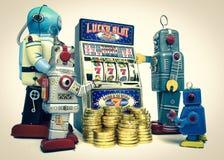 Slot machine. Vintage robots gather around a old slot machine Stock Photo