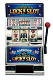 Slot machine. Vintage toy slot machine on white Stock Images