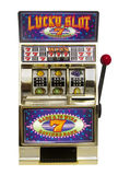 Slot machine. Vintage toy slot machine on white Stock Photography