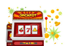 Slot Machine Web Banner on Green. One arm gambling device. Casino jackpot, slot machine, fruit machine, luck game, chance and gamble, lucky fortune. Vector vector illustration
