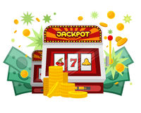 Slot Machine Web Banner Isolated on Green. One arm gambling device. Casino jackpot, slot machine, fruit machine, luck game, chance and gamble, lucky fortune stock illustration