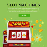 Slot Machine Web Banner Isolated on Green Royalty Free Stock Photo