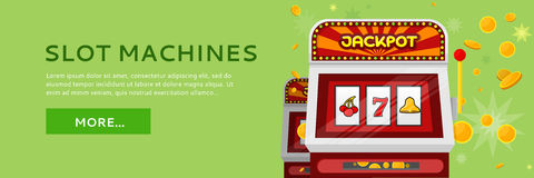 Slot Machine Web Banner Isolated on Green Royalty Free Stock Image