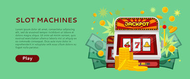 Slot Machine Web Banner Isolated on Green Stock Photos