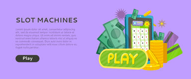 Slot Machine Web Banner Isolated with Play Button Stock Images