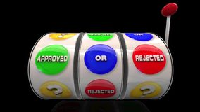 Slot machine wheels with word Approved and rejected stock video
