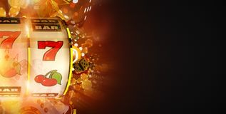 Slot Machine Win Banner. Concept with Copy Space. Fruit Machine and Blowing Casino Chips Dark Banner Royalty Free Stock Images