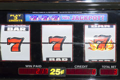 777 slot machine winner Stock Image