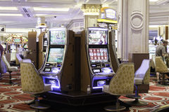 Slot machines in the Belaggio Hotel in Las Vegas. Royalty Free Stock Photos