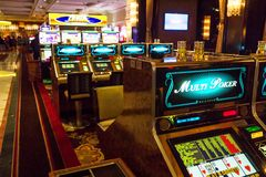 Slot machines in Bellagio Casino Royalty Free Stock Photos