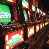 Slot machines in a casino. Beatty, United States - March 25, 2003 : Slot machines in Beatty Royalty Free Stock Photo