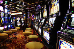 Slot Machines - Casino Interior - Cash Games - Revenue  Royalty Free Stock Images