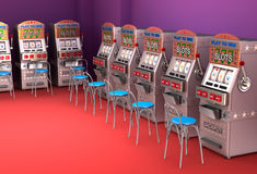 Slot machines in the casino Interior Stock Photo