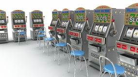 Slot machines in the casino Interior stock footage