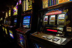 Slot machines. In the casino of a luxury hotel stock image