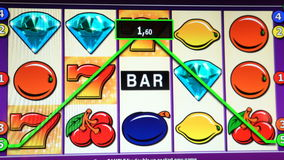 Slot machines in casinos.
